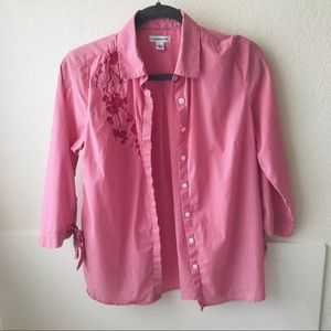 Tops - Pink pinstripe blouse S